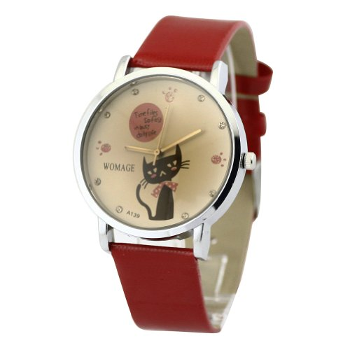 WLM Girls Ladies Red Band Cute Cat Design Big Dail Leatheroid Made Quartz Wrist Watch Watches
