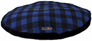 AlphaPooch Drifter Round Dog Bed, Blue Check Fabric with Black Fleece, Large