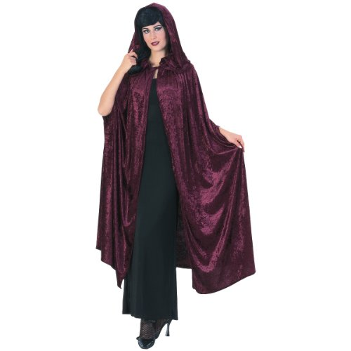 "Deluxe 63"" Velvet Gothic Cloak Costume - Standard - Dress Size 10-12"