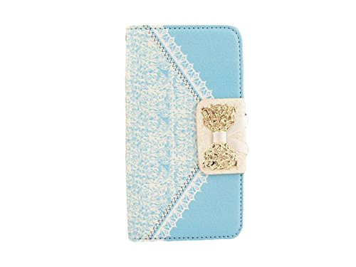 """Queens® Luxury Brand Designer Sweet Bowtie & Ribbon Pu Leather Stand Diamond Bowknot Wallet Case Cover For Iphone 6 (4.7"""") Case Wallet Flip Cover With Card Slot&Strap For Apple Iphone6 4.7 Inch And Clearly Screen Protector With Touch Pen (2-Sky Blue)"""