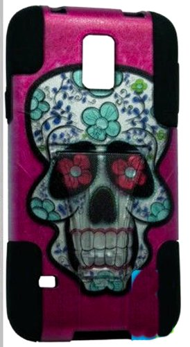 Mylife (Tm) Deep Coal Black And Flower Skull Design - Neo Hybrid Series (Built In Kickstand) 2 Piece + 2 Layer Case For New Galaxy S5 (5G) Smartphone By Samsung (External Hard Fit Armor With Built In Kick Stand + Internal Soft Silicone Rubberized Flex Gel front-340882