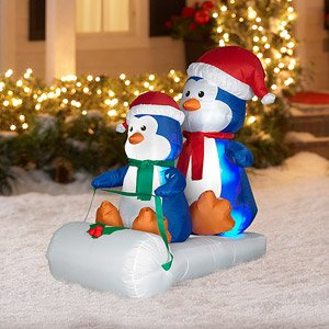 CHRISTMAS DECORATION LAWN YARD INFLATABLE BOB SLEDDING PENGUINS 4' TALL