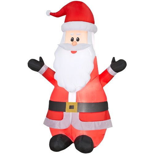 Gemmy Inflatable 6.99 Ft Airblown Santa Outdoor Christmas Decoration With Led White Lights front-1031489