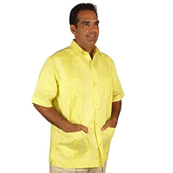 Linen guayabera for men short sleeve in yellow.