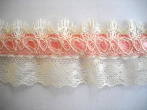 Beading Lace Pink with Ecru 1.25 Inch 12 Yds Wrights