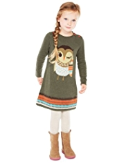 2 Piece Cotton Rich Owl Design Knitted Dress & Tights Outfit