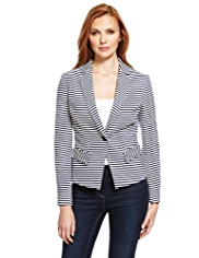 M&S Collection Notch Lapel Striped Ponte Blazer