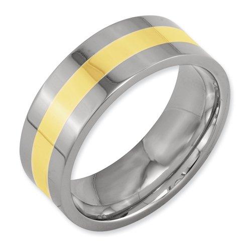 Titanium 14k Gold Inlay Flat 8mm Polished Band Size 8.5