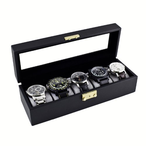 Caddy Bay Collection Classic Black Watch Case Storage Display Box with Glass Top, Holds 5 Watches