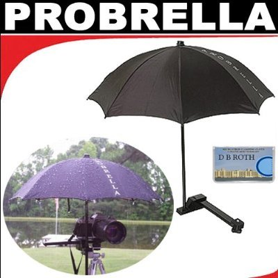 Probrella Portable Compact Umbrella Protects Your DSLR Camera Against Sun, Heat and Rain Damage For The Panasonic SR-S100, SDR-S150, AG-HPX170, AG-HMC70, AG-HPX500, Pro AG-HMC150, SVAV100, SVAV30, SVAV50 Camcorders