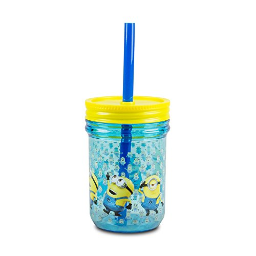 Despicable Me Minion Mason Jar Cup with Screw-on Lid and Straw