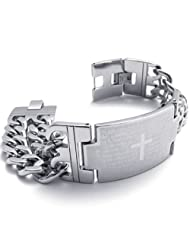 Konov Jewellery Mens Wide Stainless Steel Prayer Cross Bracelet Bangle, Colour Silver, Length 8 2/3 inch (with...