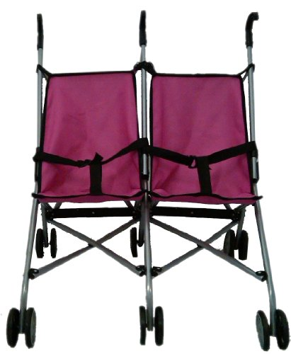 Mommy & Me Side By Side Twin Doll Buggy Hot Pink And Black 9313 front-83519
