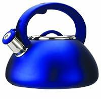 Primula Avalon Stainless Steel Whistling Tea Kettle, 2.5-Quart, Matte Blue