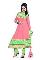 Parinaaz fashion Chhaya Georgette Peach Unstitched Anarkali salwar suit dress material