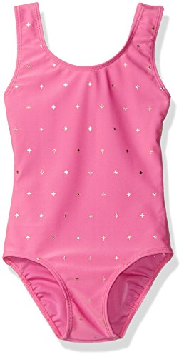 Danskin Big Girls' Gymnastics Sparkle Leotard, Twinkle Pink, Intermediate