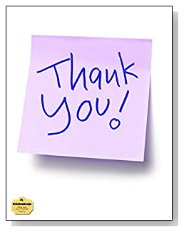 Thank You Notebook - A lavendar sticky note with the words Thank You say it all on the cover of this college ruled notebook.