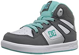 DC Rebound UL High Top Skate Shoe (Toddler), Light Grey/Turquoise, 8 M US Toddler