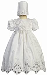 White Shantung Christening Baptism Dress with Cutwork Accents and Bonnet - XL (18 Month)
