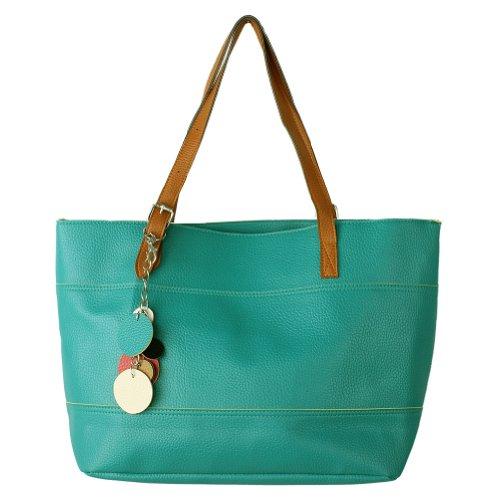 Retro Fashion Women's Tote PU Leather Shoulder Bag Handbag Shopper (Candy Color/Blue)