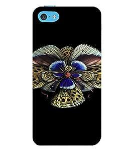 PrintVisa Colorful Butterfly Design 3D Hard Polycarbonate Designer Back Case Cover for Apple iPhone 5C