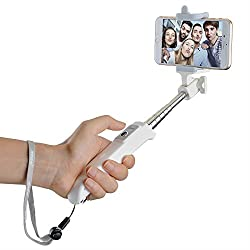 Mpow iSnap Y One-piece Portable Monopod Extendable Selfie Stick with built-in Bluetooth Remote Shutter for Travels, Family Entertainment, Friends and Group photos-White