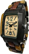 Tense Multicolored Solid Wood Mens Watch Rectangular Hypoallergenic J8102IDM