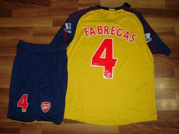 08-09 ARSENAL AWAY JERSEY FABREGAS + FREE SHORT (SIZE M)