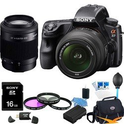 Sony Alpha SLT-A37K 16.1 MP Exmor APS HD CMOS Sensor DSLR with Translucent Mirror Technology and 18-55mm Lens (Black) ULTIMATE BUNDLE with Sony 55-200 Telephoto Lens, 16GB High Speed Card, Filter Kit, Spare Battery, Case+ More