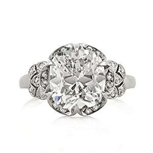 Mark Broumand 5.40ct Old Mine Cut Diamond Vintage Engagement Ring