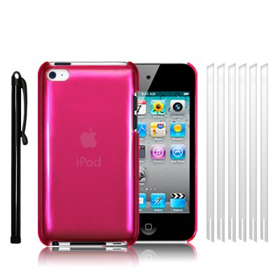 APPLE IPOD TOUCH 4TH GENERATION SUPER SLIM FIT CRYSTAL BACK COVER CASE - HOT PINK, WITH 6 SCREEN PROTECTORS & 1 STYLUS