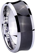 Tungsten I Love You Black Concave Two Tone Engraved Ring  5 8 10 MM  Size 4-15