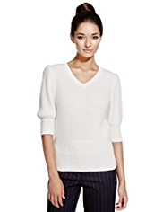 Limited Edition Knitted Slim Fit Top with Angora