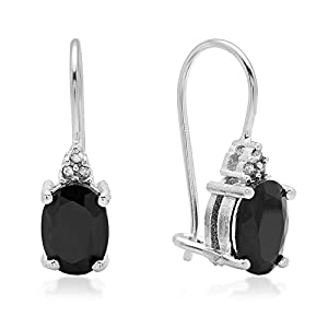 2.06 Carat (ctw) Sterling Silver Oval Black Sapphire & Round White Diamond Accents Ladies Dangling Drop Earrings