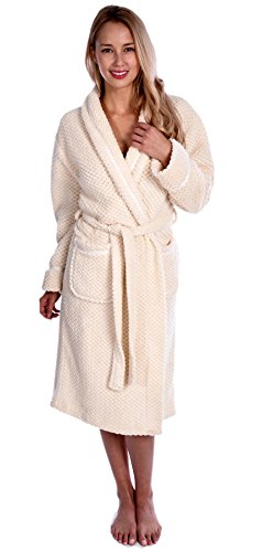 Wanted Women's Luxurious Velvet Soft Waffle Bathrobe with Tie Closure Creamy White Small/Medium