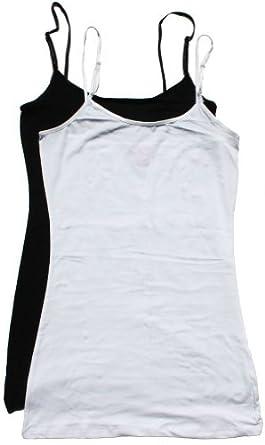 Zenana Women's Cami Sets (2 & 4 Packs),Small,2 Pack: Black & White
