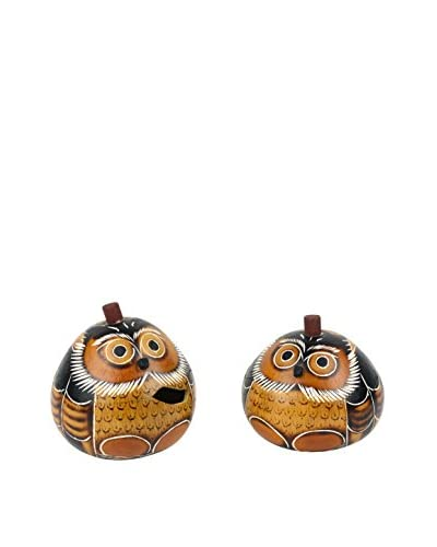 Uptown Down Set of 2 Found Hand-Painted Owl Lidded Gourd Containers, Brown/Orange