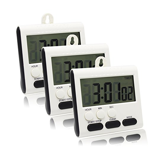 Digital Cooking Kitchen Timer 3 Pack,24 Hours Magnetic Timer with Large LCD Display ,Clock-Function,Magnetic Back Stand, Hanging Mount for Kitchen,Cooking,Baking,Sports,Games,Office