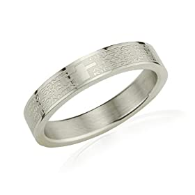 Stainless Steel English Lord's Prayer 4mm Band Ring - Women (Size 5): Dahlia