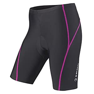 Tenn-Outdoors Women's 8 Panel Professional Viper with Pad Cycling Shorts - Black/Pink, 26-28 Inch