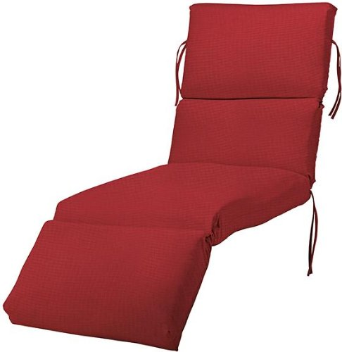 Bullnose chaise outdoor cushion 4 39 hx23 39 wx74 39 l red for 23 w outdoor cushion for chaise