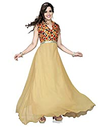 Exclusive Cream Georgette Printed Semi-stitched Gown