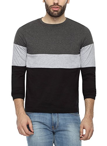 PepperClub Men's Cotton Round Neck Full Sleeve Tshirt - Cut And Sew Style