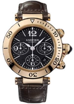 Cartier Pasha Black Dial 18kt Rose Gold Chronograph Mens Watch W3030018