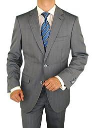 Bianco B Men\'s 3 Piece Suit Side-Vent Jacket Flat Front Pant Extra Trousers Blue (42 Short US)