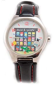 David & Goliath Classic Black Leather Watches-Floating figures