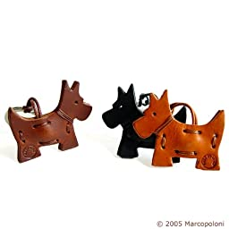 SCOTTISH TERRIER - Italian Leather Key Chain Light Leather