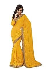 Subhash Sarees Daily Wear Yellow Color Chiffon Saree Sari Sarees
