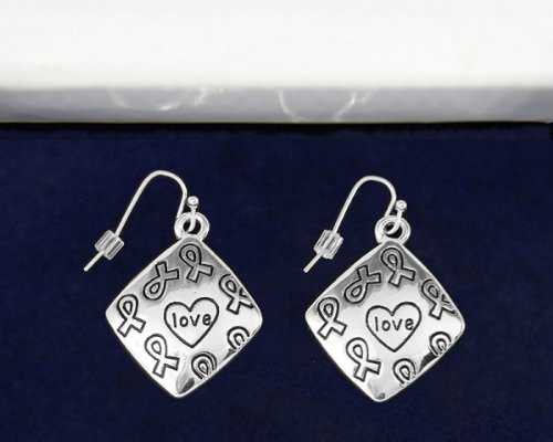 Silver Ribbon Earrings- Square Love Earrings (18 Pairs of Earrings)