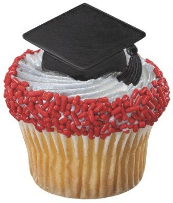 Congrats Grad Cap {BLACK} Cupcake Topper Rings - Set of 12